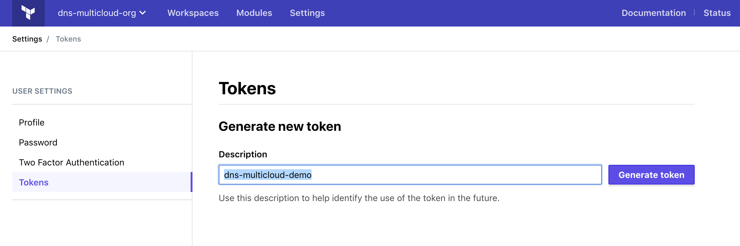 Token Section terraform Cloud